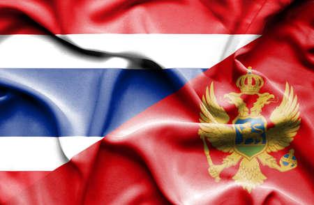 montenegro: Waving flag of Montenegro and Thailand