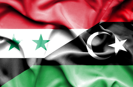 syria peace: Waving flag of Libya and Syria