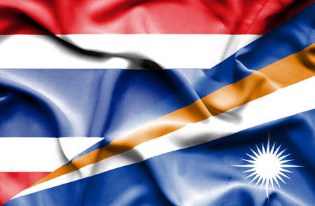 marshall: Waving flag of Marshall Islands and Thailand