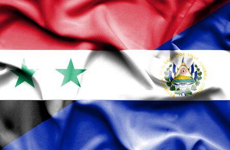 el salvador: Waving flag of El Salvador and Syria