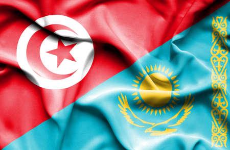 tunisia: Waving flag of Kazakhstan and Tunisia