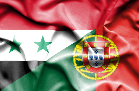 syria peace: Waving flag of Portugal and Syria