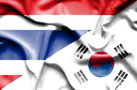 south korea: Waving flag of South Korea and Thailand