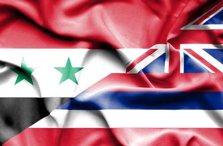 syria peace: Waving flag of Hawaii and Syria