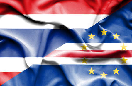 cape verde: Waving flag of Cape Verde and Thailand Stock Photo