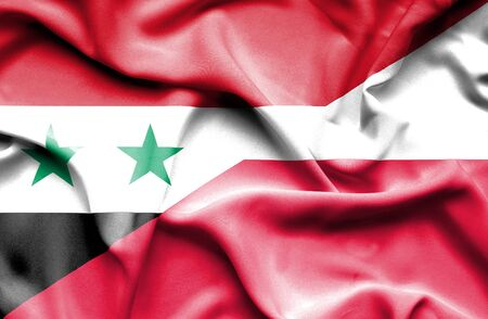 syria peace: Waving flag of Poland and Syria