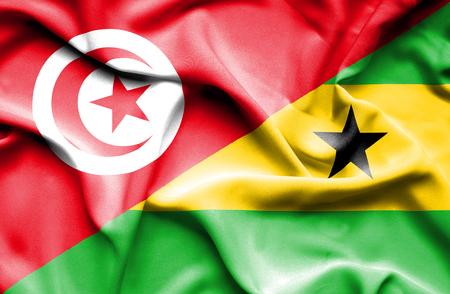 principe: Ondeando la bandera de Santo Tomé y Príncipe y Túnez