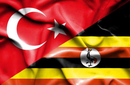 uganda: Waving flag of Uganda and