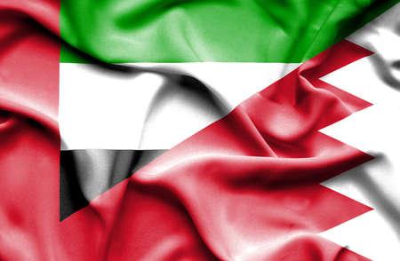 bahrain money: Waving flag of Bahrain and United Arab Emirates