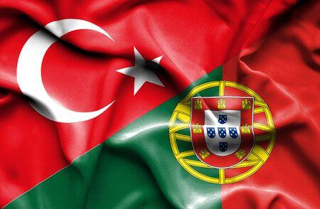 drapeau portugal: Agitant le drapeau du Portugal et Banque d'images