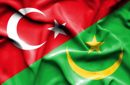 mauritania: Waving flag of Mauritania and Stock Photo