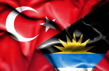 antigua: Waving flag of Antigua and Barbuda and