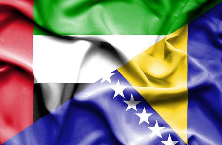 herzegovina: Waving flag of Bosnia and Herzegovina and United Arab Emirates
