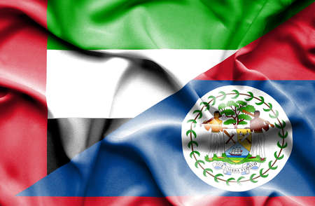 belize: Waving flag of Belize and United Arab Emirates