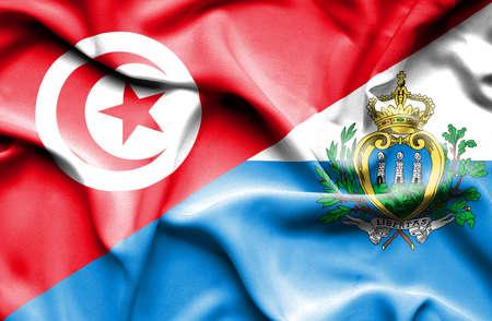 san marino: Waving flag of San Marino and Tunisia