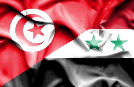 tunisia: Waving flag of Syria and Tunisia Stock Photo