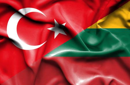 lithuania: Waving flag of Lithuania and