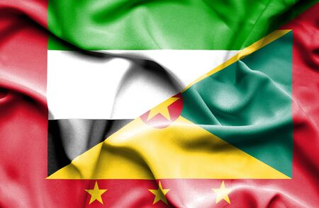 guernsey: Waving flag of Guernsey and United Arab Emirates Stock Photo