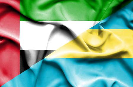 emirates: Waving flag of Bahamas and United Arab Emirates Stock Photo