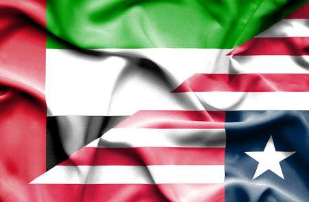 emirates: Waving flag of Liberia and United Arab Emirates