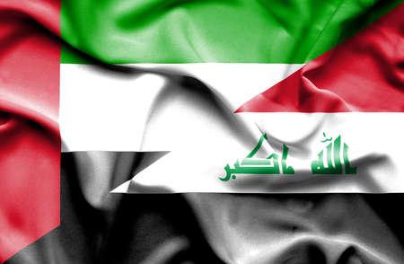 iraq conflict: Waving flag of Iraq and United Arab Emirates Stock Photo