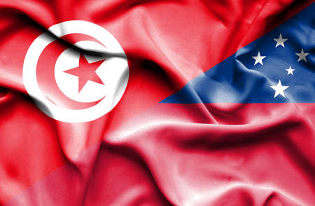 samoa: Waving flag of Samoa and Tunisia Stock Photo
