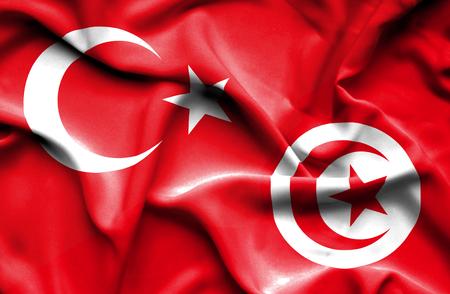 tunisia: Waving flag of Tunisia and