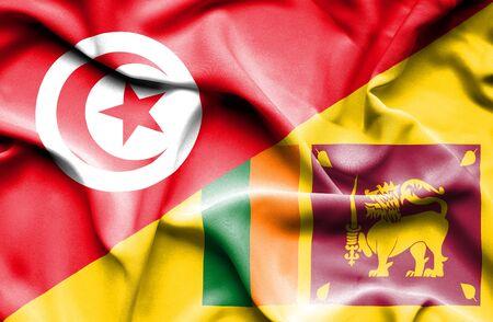 sri lanka: Waving flag of Sri Lanka and Tunisia Stock Photo