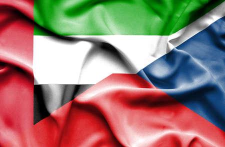 the czech republic: Waving flag of Czech Republic and United Arab Emirates