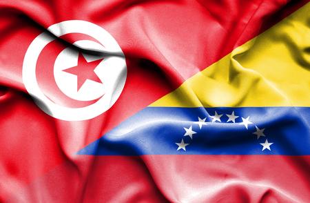 tunisia: Waving flag of Venezuela and Tunisia