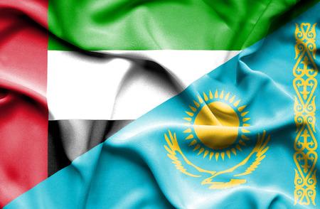 emirates: Waving flag of Kazakhstan and United Arab Emirates