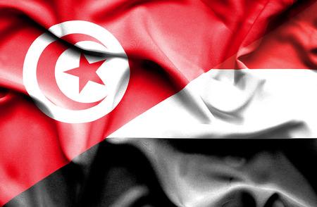 tunisia: Waving flag of Yemen and Tunisia