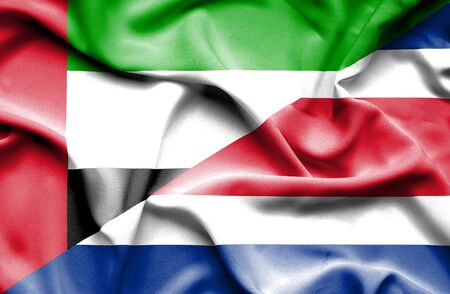 emirates: Waving flag of Costa Rica and United Arab Emirates Stock Photo