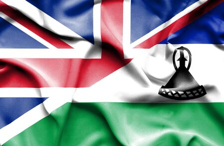 lesotho: Waving flag of Lesotho and