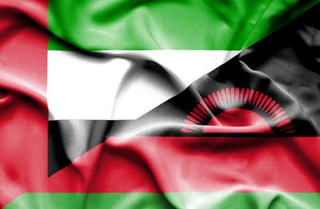 malawian flag: Waving flag of Malawi and United Arab Emirates