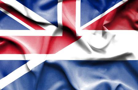 flag of netherlands: Waving flag of Netherlands and Stock Photo