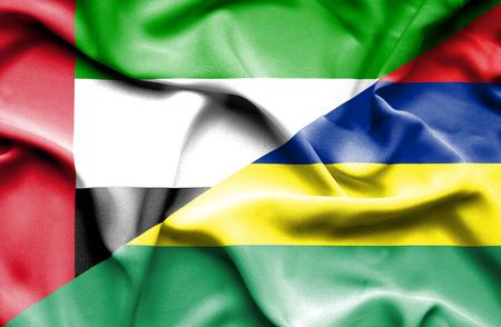 emirates: Waving flag of Mauritius and United Arab Emirates
