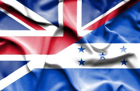 great britain: Waving flag of Honduras and Great Britain