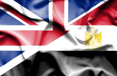 great britain: Waving flag of Egypt and Great Britain