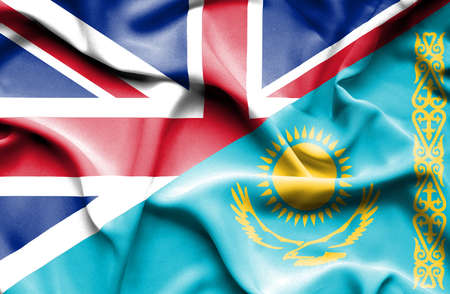 great britain: Waving flag of Kazakhstan and Great Britain Stock Photo