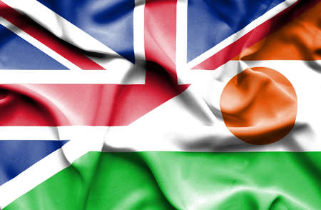 niger: Waving flag of Niger and Great Britain