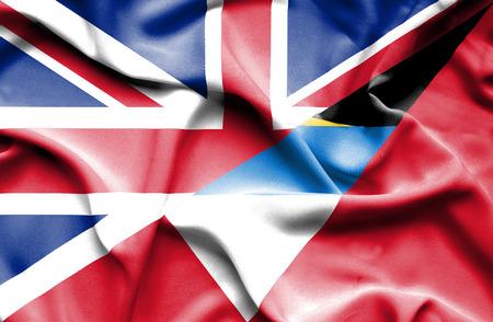 barbuda: Waving flag of Antigua and Barbuda and