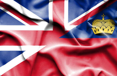 lichtenstein: Waving flag of Lichtenstein and