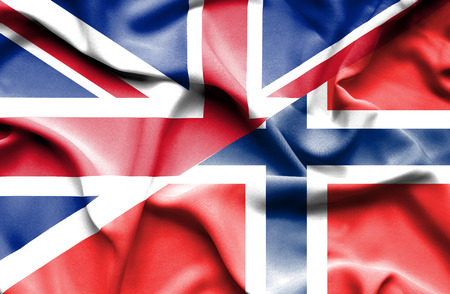 britain: Waving flag of Norway and Great Britain