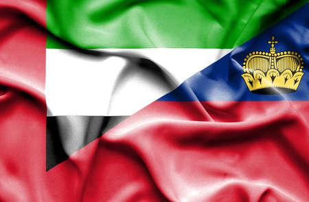 lichtenstein: Waving flag of Lichtenstein and  United Arab Emirates Stock Photo