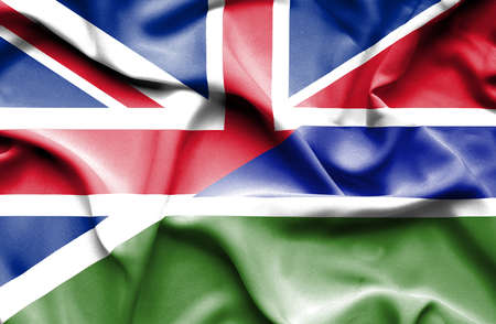 great britain: Waving flag of Gambia and Great Britain