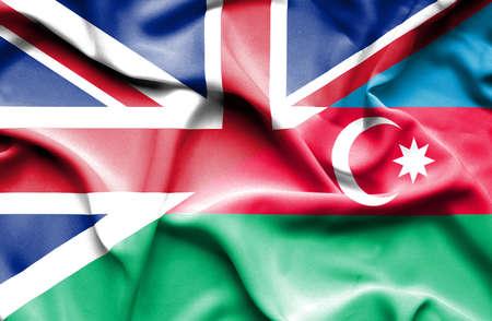 britain: Waving flag of Azerbajan and Great Britain
