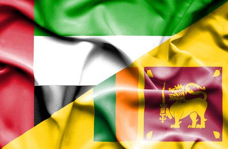sri lanka: Waving flag of Sri Lanka and United Arab Emirates Stock Photo