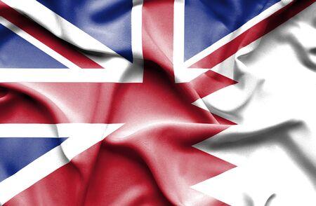 grunge union jack: Bahrain waving flag and Great Britain