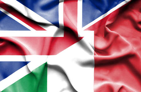 great britain: Waving flag of Italy and Great Britain
